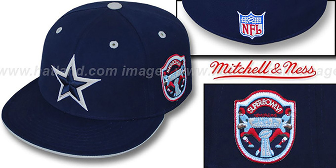 Cowboys 'SCRIMMAGE PATCH' Navy Fitted Hat by Mitchell & Ness : pictured without stickers that these products are shipped with