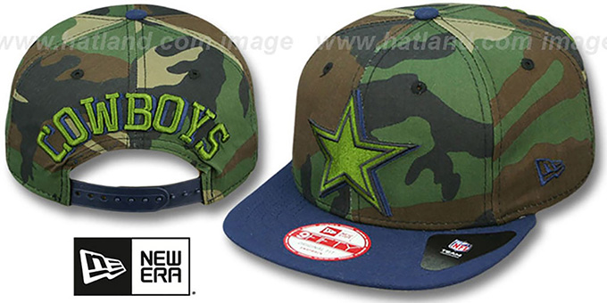 Cowboys 'SHADOW SLICE SNAPBACK' Army-Navy Hat by New Era : pictured without stickers that these products are shipped with