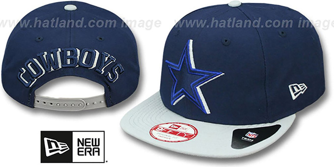 Cowboys 'SHADOW SLICE SNAPBACK' Navy-Grey Hat by New Era : pictured without stickers that these products are shipped with