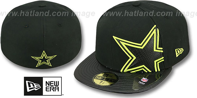 Cowboys 'SHIMMER FILL' Black Fitted Hat by New Era : pictured without stickers that these products are shipped with