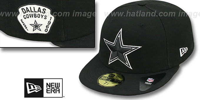 Cowboys 'SIDE TEAM-PATCH' Black-White Fitted Hat by New Era : pictured without stickers that these products are shipped with