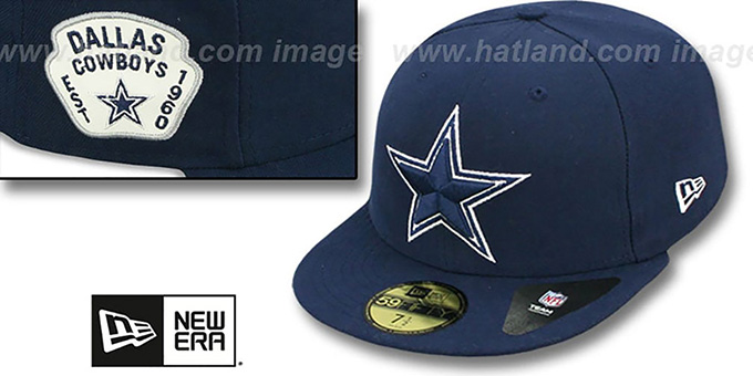 Cowboys 'SIDE TEAM-PATCH' Navy Fitted Hat by New Era : pictured without stickers that these products are shipped with