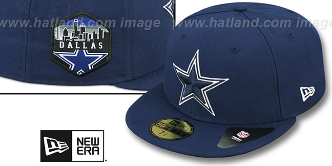 Cowboys 'SKYLINE-PATCH' Navy Fitted Hat by New Era : pictured without stickers that these products are shipped with