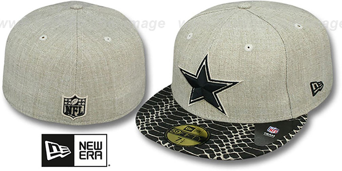 Cowboys 'SNAKE ANI-VIZE' Oatmeal-Black Fitted Hat by New Era : pictured without stickers that these products are shipped with