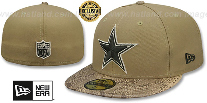 169c389f Dallas Cowboys SNAKESKIN SLEEK Khaki Fitted Hat by New Era