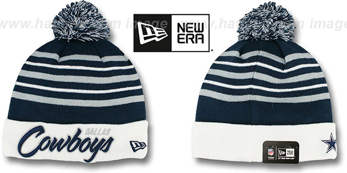 Cowboys 'SNOW STRIPE SCRIPT' Knit Beanie Hat by New Era : pictured without stickers that these products are shipped with