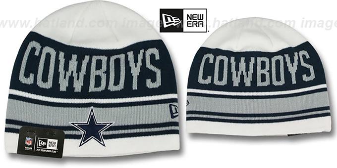 98ba5b8ed70 Cowboys  SNOW-TOP SKULLIE  White Knit Beanie Hat by New Era