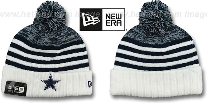Cowboys 'SNOWFALL STRIPE' Knit Beanie Hat by New Era : pictured without stickers that these products are shipped with