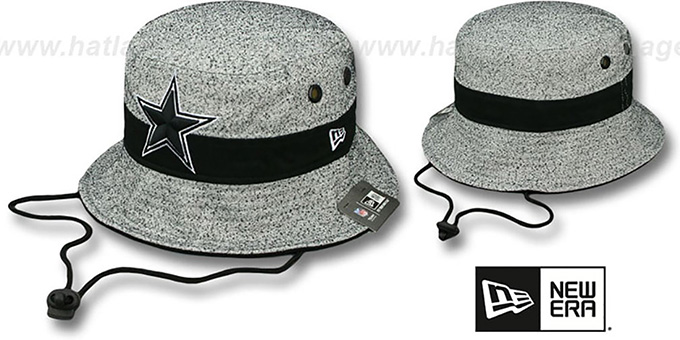 Cowboys 'SPECKLED BUCKET' Grey-Black Hat by New Era : pictured without stickers that these products are shipped with