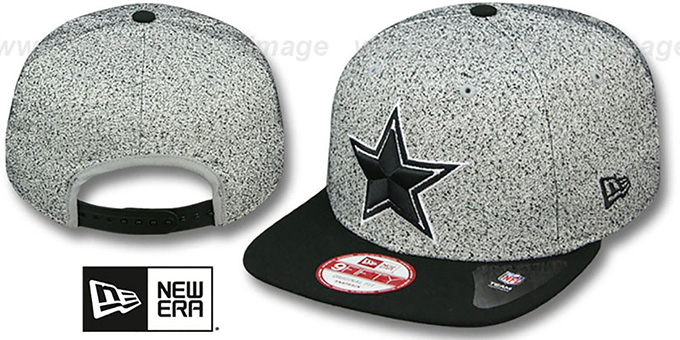 Cowboys 'SPECKLED SNAPBACK' Grey-Black Hat by New Era : pictured without stickers that these products are shipped with