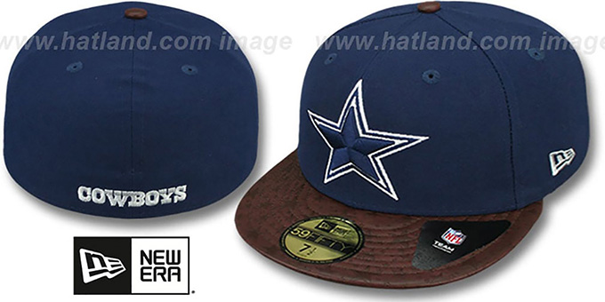 Cowboys 'STAR-VIZE' Navy-Brown Fitted Hat by New Era : pictured without stickers that these products are shipped with