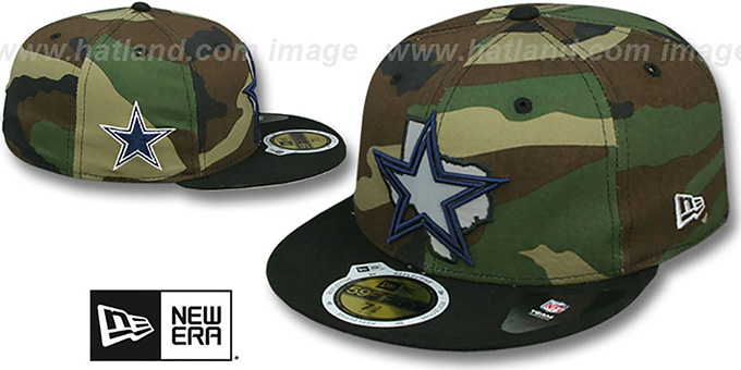 Cowboys 'STATE REFLECT' Army-Black Fitted Hat by New Era : pictured without stickers that these products are shipped with