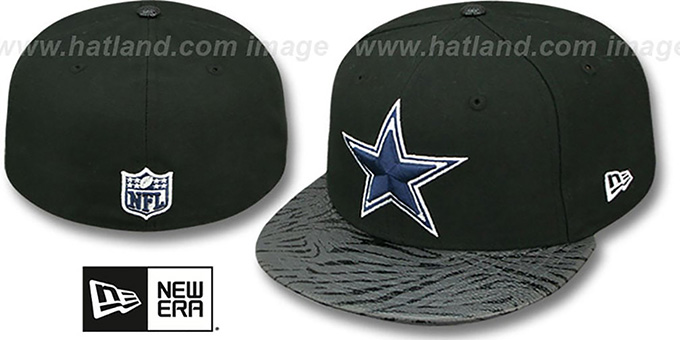 Cowboys 'STING SCREEN' Black Fitted Hat by New Era : pictured without stickers that these products are shipped with