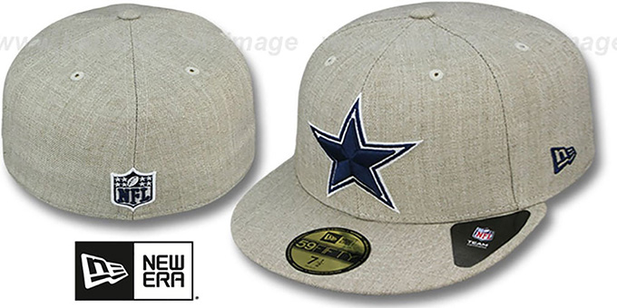 Cowboys 'STREAMLINER' Oatmeal Fitted Hat by New Era : pictured without stickers that these products are shipped with