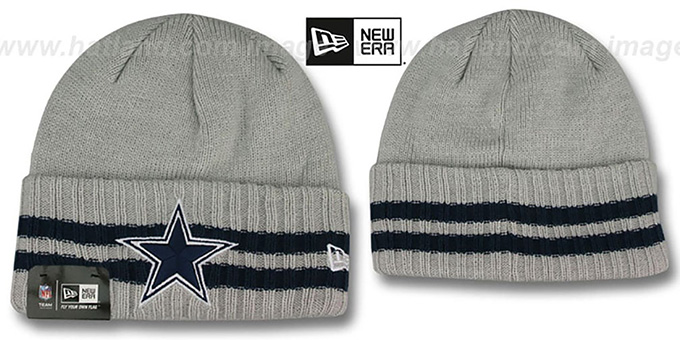 Cowboys 'STRIPED CUFF' Grey Knit Beanie Hat by New Era : pictured without stickers that these products are shipped with