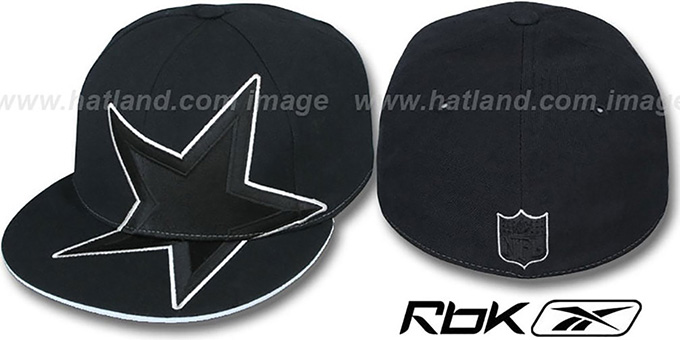 Cowboys 'SUPERSIZE TRACE' Black Fitted Hat by Reebok : pictured without stickers that these products are shipped with