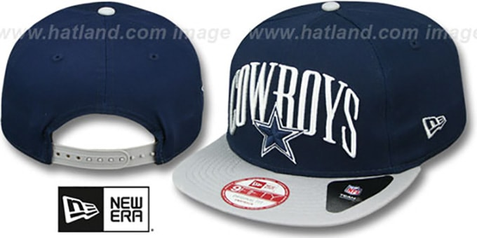 Cowboys 'TEAM LEAD SNAPBACK' Navy-Grey Hat by New Era : pictured without stickers that these products are shipped with