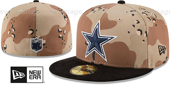 Cowboys 'TEAM SUEDE' Desert Storm-Black Fitted Hat by New Era : pictured without stickers that these products are shipped with
