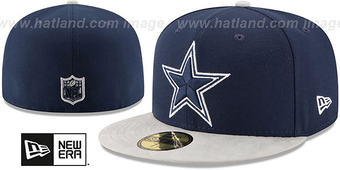Cowboys 'TEAM SUEDE' Navy-Grey Fitted Hat by New Era : pictured without stickers that these products are shipped with
