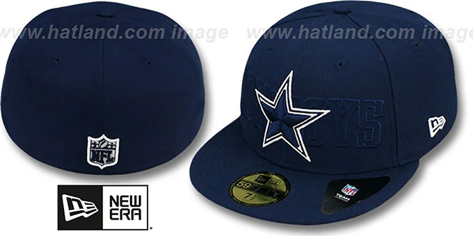 Cowboys 'TONAL WORD' Navy Fitted Hat by New Era : pictured without stickers that these products are shipped with