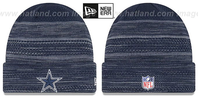 Cowboys 'TOUCHDOWN' Navy-Grey Knit Beanie Hat by New Era : pictured without stickers that these products are shipped with