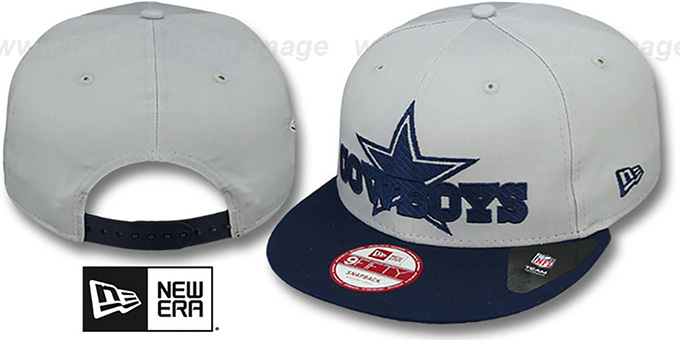 Cowboys 'TRACKSNAP SNAPBACK' Grey-Navy Hat by New Era : pictured without stickers that these products are shipped with