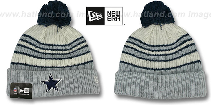 Cowboys 'TRADITIONAL STRIPED' White-Grey Knit Beanie Hat by New Era : pictured without stickers that these products are shipped with