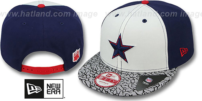 Cowboys 'TRUE-BLUE SNAPBACK' White-Navy Hat by New Era : pictured without stickers that these products are shipped with