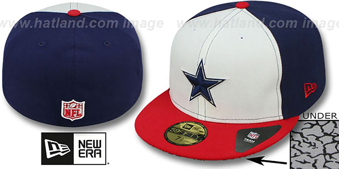 Cowboys 'TRUE-BLUE' White-Navy-Red Fitted Hat by New Era : pictured without stickers that these products are shipped with