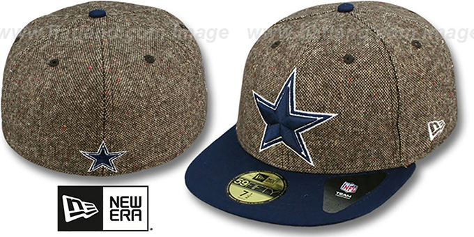 Cowboys 'TWEED CREST' Brown-Navy Fitted Hat by New Era : pictured without stickers that these products are shipped with