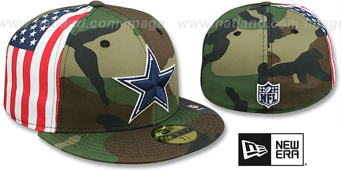 Cowboys 'USA FLAG-SIDE' Army Camo Fitted Hat by New Era : pictured without stickers that these products are shipped with