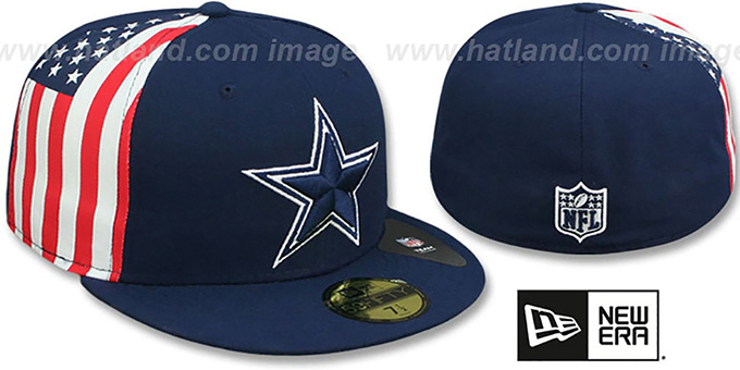 Cowboys 'USA FLAG-SIDE' Navy Fitted Hat by New Era : pictured without stickers that these products are shipped with