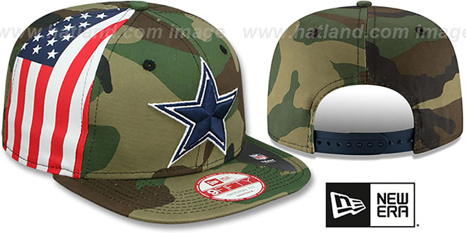 Cowboys 'USA FLAG-SIDE SNAPBACK' Army Hat by New Era : pictured without stickers that these products are shipped with
