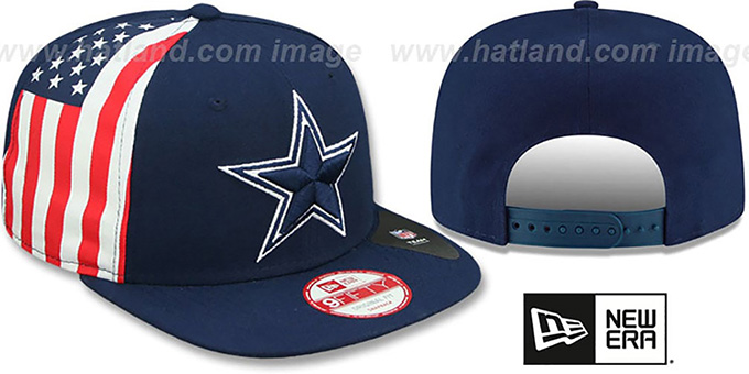 Cowboys 'USA FLAG-SIDE SNAPBACK' Navy Hat by New Era : pictured without stickers that these products are shipped with