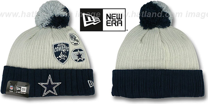 Cowboys 'VINTAGE PATCHES' Knit Beanie Hat by New Era : pictured without stickers that these products are shipped with
