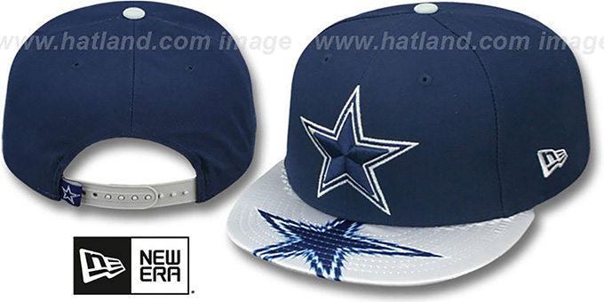 Cowboys 'VISOR GLEAM SNAPBACK' Navy Hat by New Era : pictured without stickers that these products are shipped with