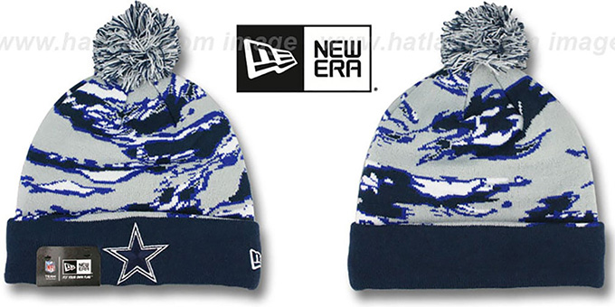 Cowboys  WINTER SAFARI  Navy-Grey Knit Beanie Hat by ... a557fa70634