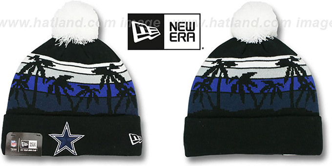 Cowboys 'WINTER TROPICS' Black Knit Beanie Hat by New Era : pictured without stickers that these products are shipped with