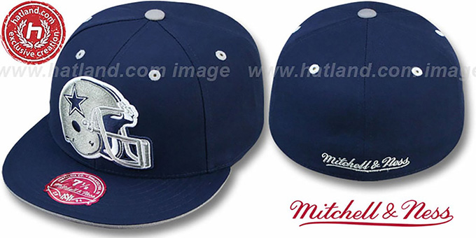 a46c5eda Dallas Cowboys XL-HELMET Navy Fitted Hat by Mitchell & Ness
