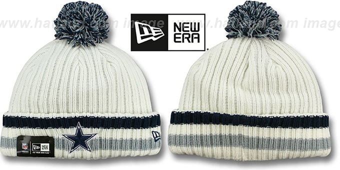 Cowboys 'YESTER-YEAR' Knit Beanie Hat by New Era : pictured without stickers that these products are shipped with