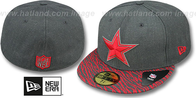 Cowboys 'ZEBRA ANI-VIZE' Grey-Red Fitted Hat by New Era : pictured without stickers that these products are shipped with