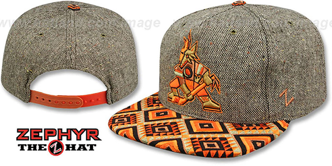 Coyotes 'DREAM CATCHER SNAPBACK' Hat by Zephyr : pictured without stickers that these products are shipped with