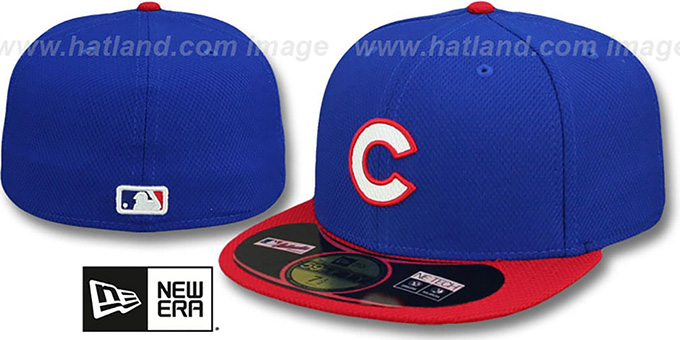 Cubs '2014 DIAMOND-TECH BP' Royal-Red Hat by New Era : pictured without stickers that these products are shipped with