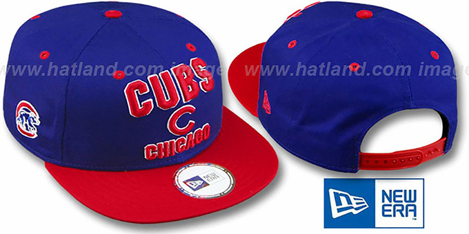 Cubs '2T PAYDIRT SNAPBACK' Royal-Red Adjustable Hat by New Era : pictured without stickers that these products are shipped with