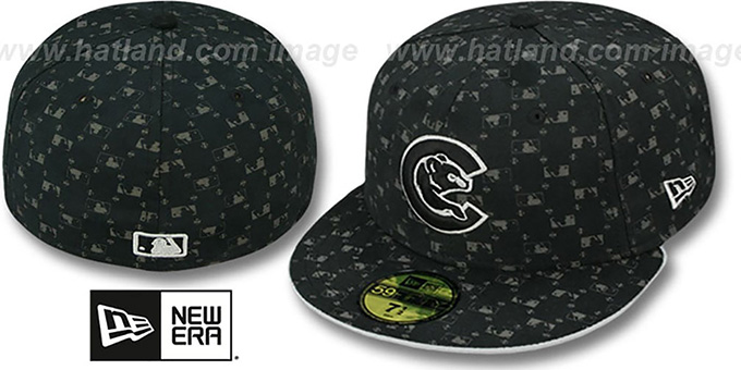 Cubs ALT 'MLB FLOCKING' Black Fitted Hat by New Era : pictured without stickers that these products are shipped with