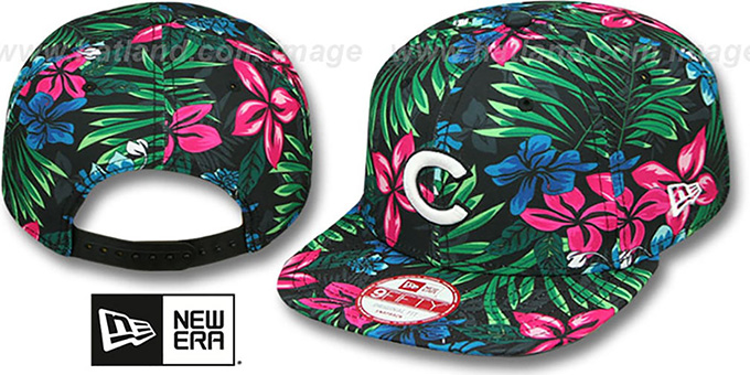 Cubs 'AMAZON BLOOM SNAPBACK' Hat by New Era : pictured without stickers that these products are shipped with