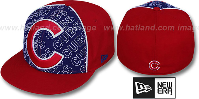 Cubs 'ANGLEBAR' Red-Royal Fitted Hat by New Era : pictured without stickers that these products are shipped with