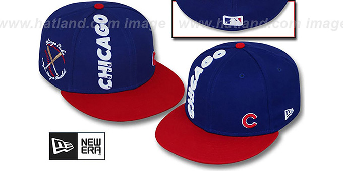 Cubs 'BEELINE' Royal-Red Fitted Hat by New Era : pictured without stickers that these products are shipped with