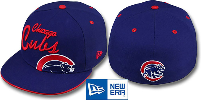 Cubs 'BIG-SCRIPT' Royal Fitted Hat by New Era : pictured without stickers that these products are shipped with