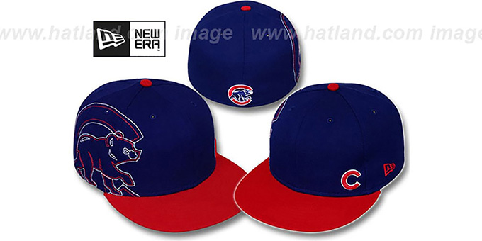 Cubs 'BIG-STITCH' Royal-Red Fitted Hat by New Era : pictured without stickers that these products are shipped with